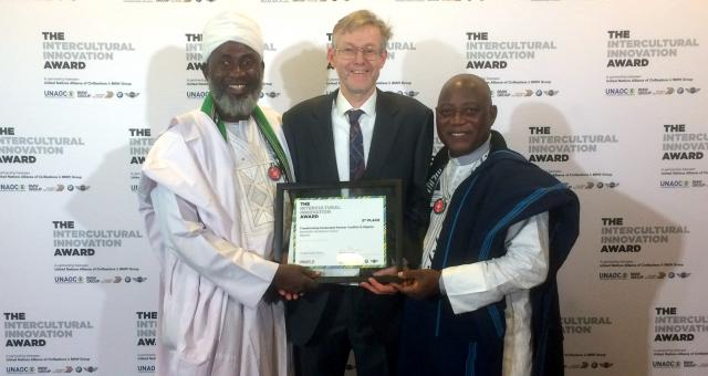 Imam Dr Muhammad Ashafa, Dr Alan Channer and Pastor Dr James Wuye at the UNAOC/BMW 2017 'Intercultural Award Ceremony' in New York