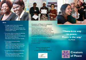 Creators of Peace brochure