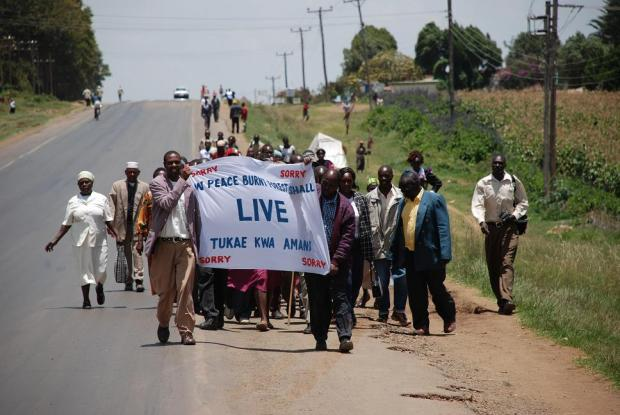 Marching for peace in Burnt Forest, Kenya